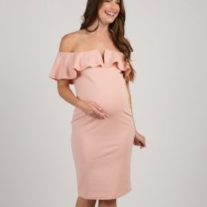 Light Pink Fitted Ruffle Trim Maternity Dress